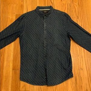 Pull & Bear floral pattern denim shirt, large